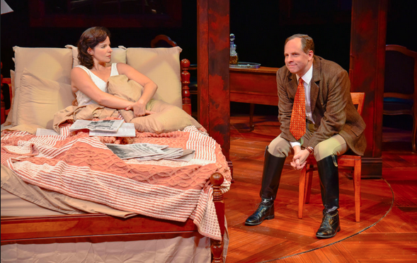 """Anne Gottlieb and Benjamin Evett in a scene from """"Broken Glass"""" at New Rep"""