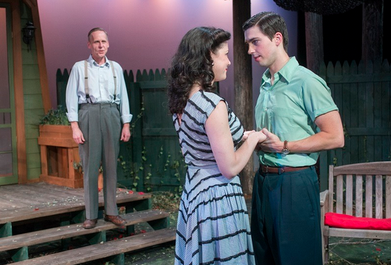 "Chuck Spencer, Jen Short and Matthew Klingler in Raven Theatre's ""All My Sons"""