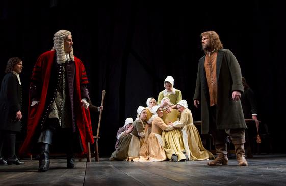 CrucibleGuthrieJohn Catron as Hale, Stephen Yoakam as Danforth, the accusing women, and Erik Heger as Proctor