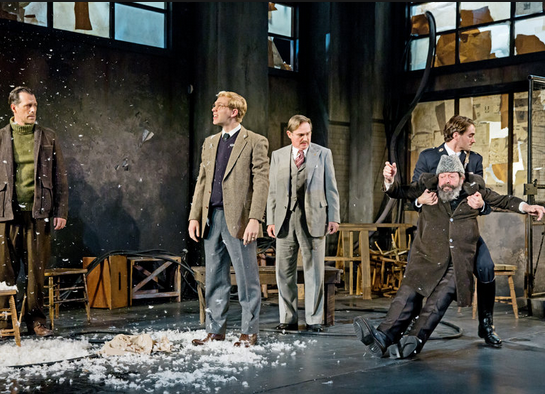 """From left, Darren Pettie, Brian Cross, Richard Thomas and Jonathan Hadary (being dragged) and AJ Cedeño in """"Incident at Vichy.""""Signature"""