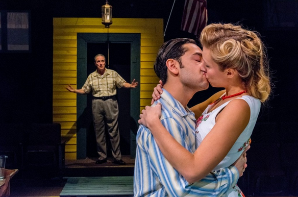 "Peter Palmisano, left, Anthony Alcocer and Candice Kogut star in the Irish Classical Theatre Company's production of ""All My Sons."